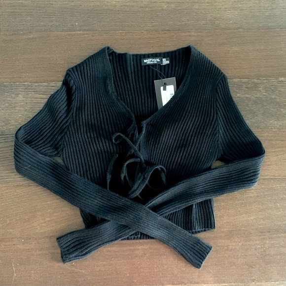 NWT front tie sweater